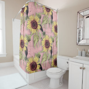 Rustic Autumn Sunflower Pattern Shower Curtain