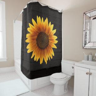 Rustic Autumn Sunflower Wood Texture Shower Curtain