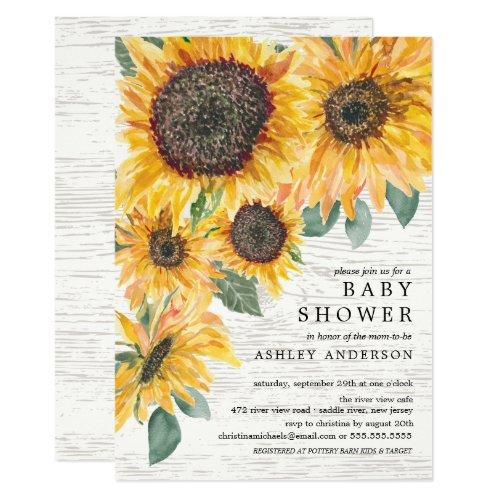 Rustic Autumn Sunflowers Floral Baby Shower Invitation