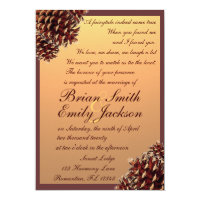 Rustic autumn theme pinecone wedding invitations