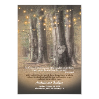Rustic Autumn Tree String Lights Informal Wedding Card