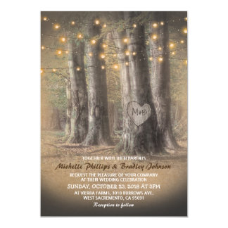 Rustic Autumn Tree & String Lights Wedding Card