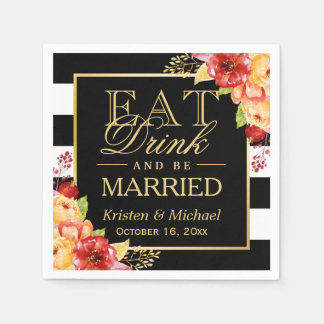 Rustic Autumn Wedding EAT Drink and Be Married Napkin