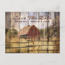 rustic autumn western country red barn wedding announcement postcard