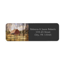 rustic autumn western country red barn wedding label