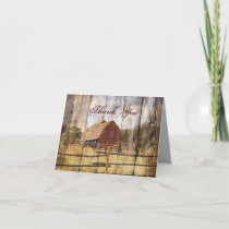 rustic autumn western country red barn wedding thank you card