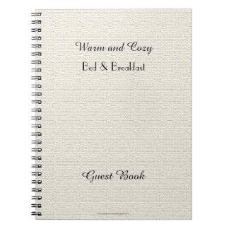 Rustic B&B Guest Book, Faux White Burlap Spiral Notebook