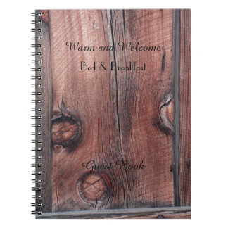 Rustic B&B Guest Book, Old Red Barn Wood Siding Spiral Notebook