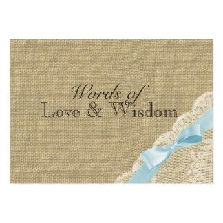 Rustic Baby Blue Shower Advice Cards Large Business Card