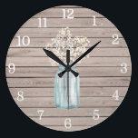 "Rustic Baby Breath Mason Jar Clock<br><div class=""desc"">Decorative Clock</div>"