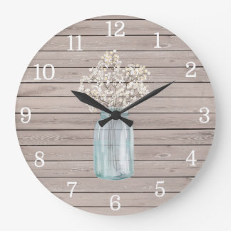 Rustic Baby Breath Mason Jar Clock