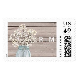 Rustic Baby Breath Mason Jar Stamp