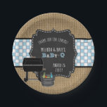 "Rustic Baby Q boy baby shower decor Paper Plate<br><div class=""desc"">Fun,  boy Baby Q baby shower design includes burlap   chalkboard for a rustic vibe.</div>"