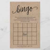 Rustic Baby Shower Bingo, Kraft Game Card