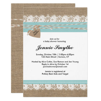 Rustic Baby Shower Invitation, Burlap & Lace Blue Card