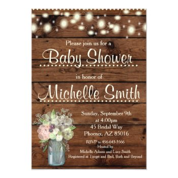 Rustic Baby Shower Invitation  Mason Jar  Floral Card by GlamtasticInvites at Zazzle