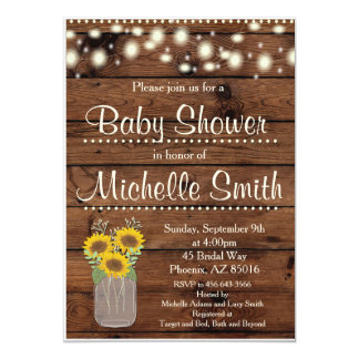 Rustic Baby Shower Invitation, Mason Jar, Floral Card