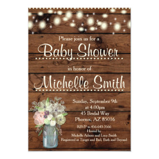 Rustic Baby Shower Invitation, Mason Jar, Floral Invitation