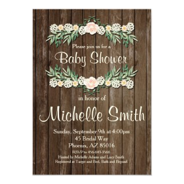 Toddler & Baby themed Rustic Baby Shower Invitation, Rose, Floral Card