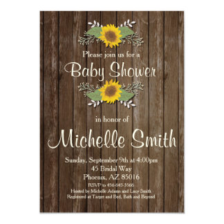 Rustic Baby Shower Invitation, Sunflower, Floral Card