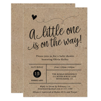 Rustic Baby Shower, Kraft, Gender Neutral Card