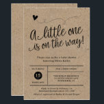"Rustic Baby Shower, Kraft, Gender Neutral Invitation<br><div class=""desc"">This trendy gender neutral invitation features a hand lettered heading, &quot;A little one is on the way&quot; and your information in a grid style on the front, and rustic hand drawn laurels on the back. Both sides have a kraft background. Choose from one of the white paper options for best...</div>"