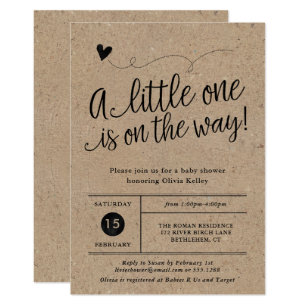 rustic baby shower kraft gender neutral invitation