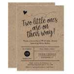 Rustic Baby Shower, Twins, Gender Neutral  Kraft Invitation