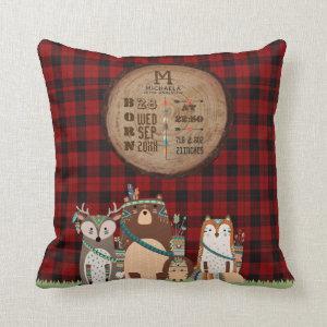 Rustic BABY STATS Lumberjack Woodland Animals Throw Pillow
