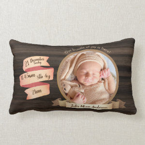 Rustic Baby Stats Photo Keepsake Birth Details Lumbar Pillow