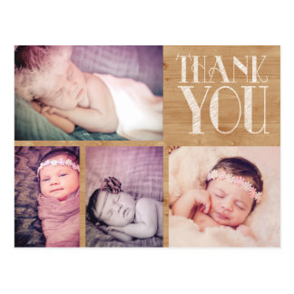 Rustic Baby Thank You Photo Post Card