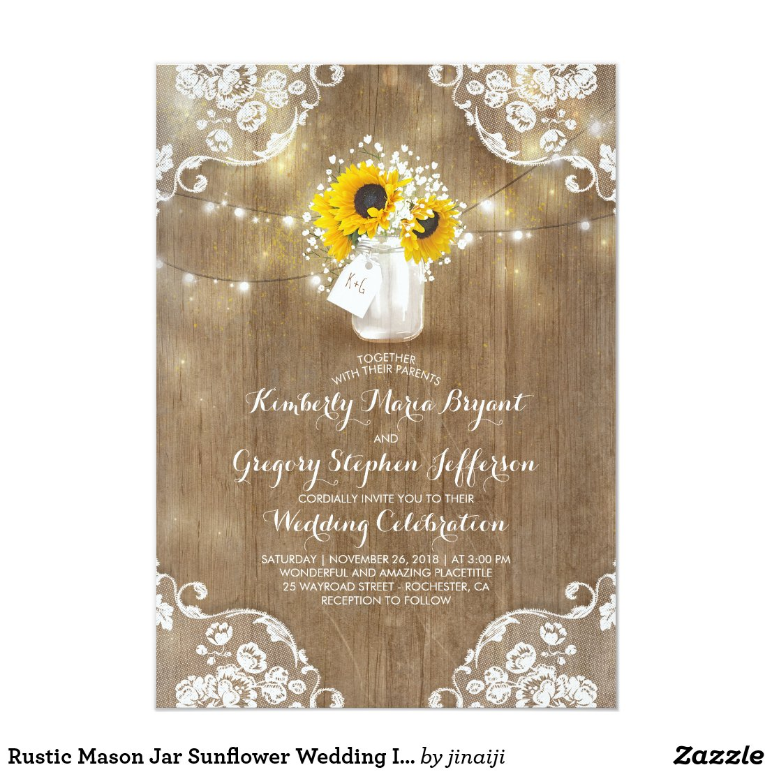 Rustic Baby's Breath and Sunflower Wedding Invitation