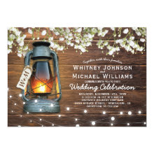 Rustic Baby's Breath Barn Wood Lantern Wedding Invitation
