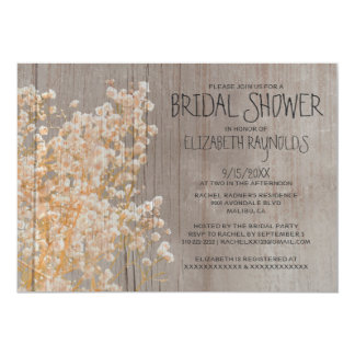 Rustic Baby's Breath Bridal Shower Invitations