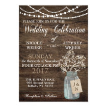 Rustic Baby's Breath Country Mason Jar Wedding Card