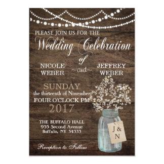 Rustic Baby's Breath Country Mason Jar Wedding Card