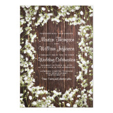 Rustic Babys Breath Country Wedding Invitations