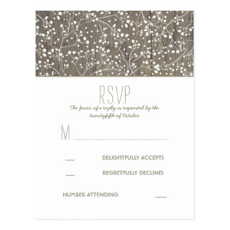 Rustic Baby's Breath Country Wedding RSVP Postcard
