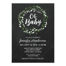 Rustic Baby's Breath Floral Wreath Baby Shower Invitation