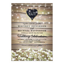 Rustic Baby's Breath Heart Twinkle Lights Wedding Invitation