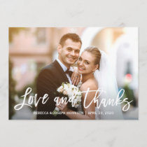 Rustic Baby's Breath Love and Thanks Wedding Photo Thank You Card
