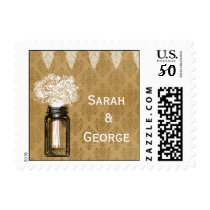 Rustic Babys Breath Mason Jar Country Wedding Postage