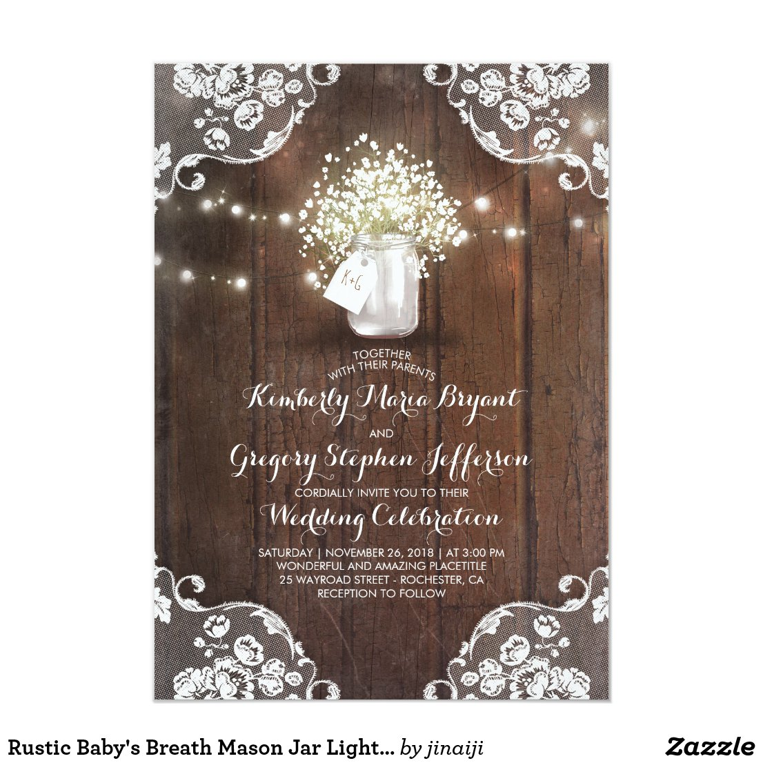 Rustic Baby's Breath Wedding Invitation with White Floral Lace