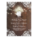 Rustic Baby's Breath Mason Jar Lights Lace Wedding Card