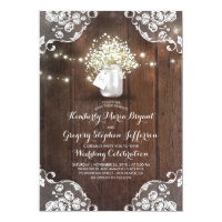 Rustic Baby's Breath Mason Jar Lights Lace Wedding Invitation