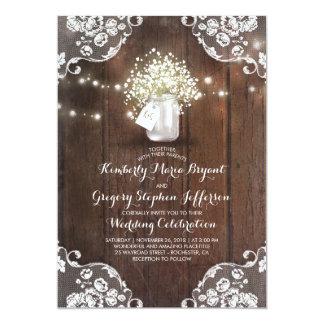Rustic Baby's Breath Mason Jar Lights Lace Wedding Invitation