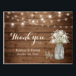 "Rustic Baby&#39;s Breath Mason Jar Lights Thank You Postcard<br><div class=""desc"">================= ABOUT THIS DESIGN ================= Rustic Baby&#39;s Breath Mason Jar Lights Thank You Postcard. (1) For further customization, please click the &quot;Customize&quot; button and use our design tool to modify this template. All text style, colors, sizes can be modified to fit your needs. (2) If you need further customization or...</div>"