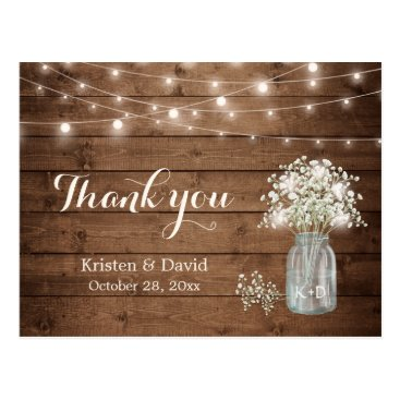 Toddler & Baby themed Rustic Baby's Breath Mason Jar Lights Thank You Postcard