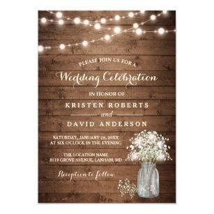 Rustic Baby S Breath Mason Jar Lights Wedding Card