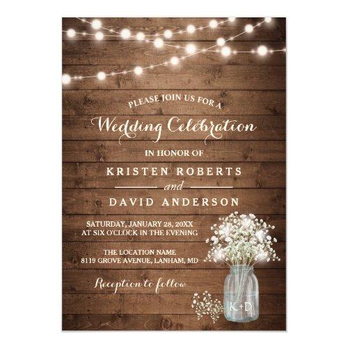 Rustic Baby's Breath Mason Jar Lights Wedding Card